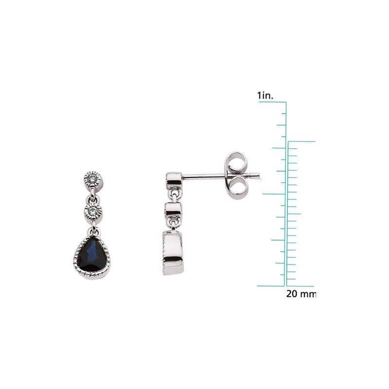 Signature Collection Genuine Sapphire & Diamond Earrings - EL584134