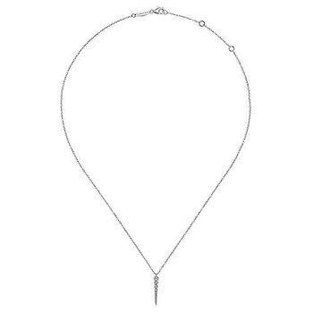 14k White Gold Spike Diamond Necklace by Gabriel NY