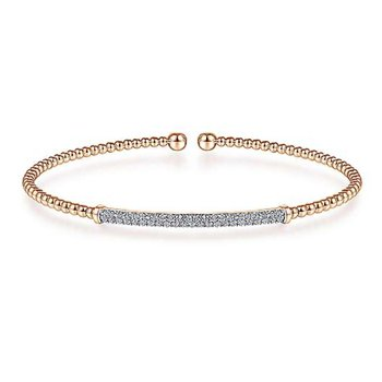 Gabriel NY 14k Rose Gold Flex Diamond Bangle in 6.5""