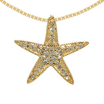14k Yellow Gold Diamond Starfish Pendant
