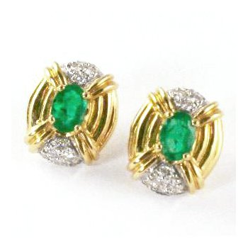 14k Yellow Gold Oval Emerald and Diamond Earrings - #24117