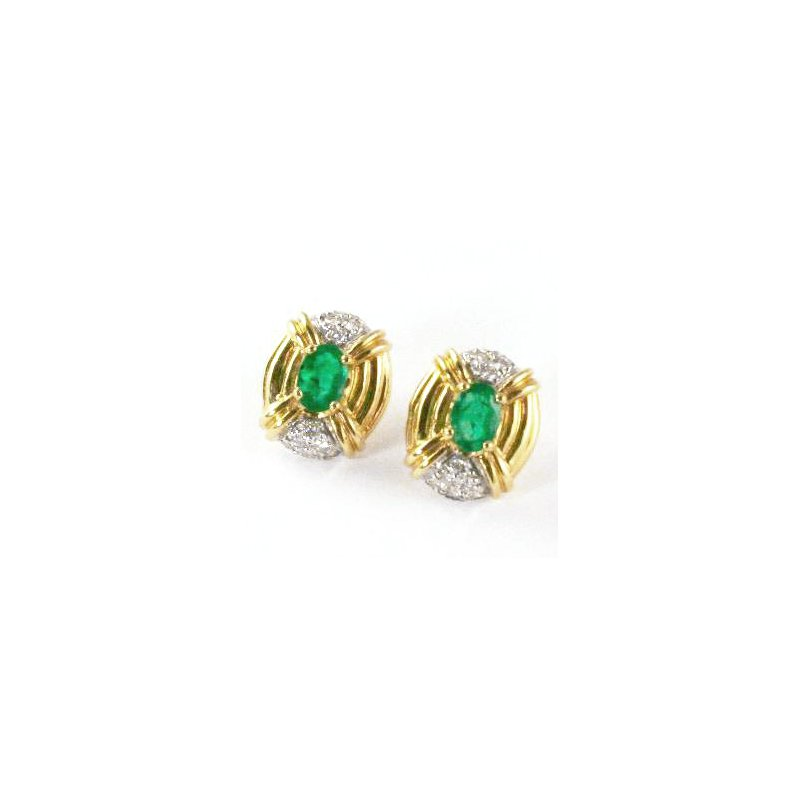 Signature Collection 14k Yellow Gold Oval Emerald and Diamond Earrings - #24117