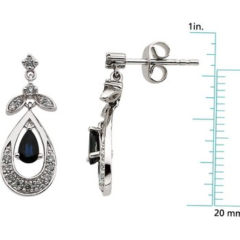 Genuine Sapphire & Diamond Earrings - El661134