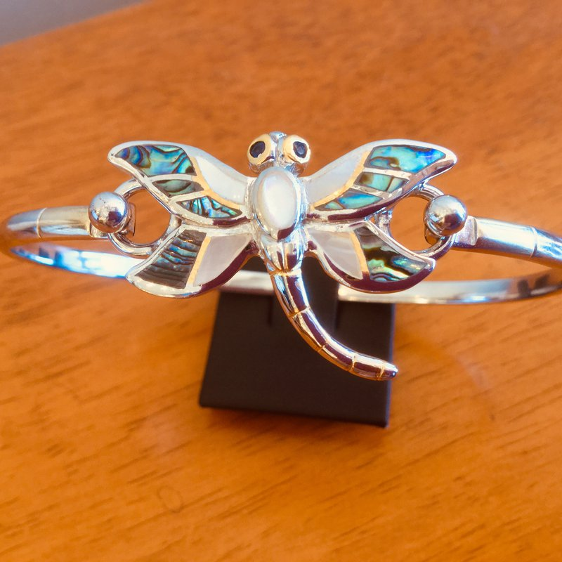 Kovel Sealife Sterling Silver and 18k Gold Plate Dragonfly Topper with White Mother of Pearl and Abalone