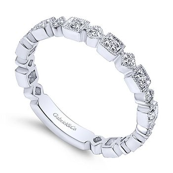 14k White Gold Stackable Wedding Band by Gabriel NY - Style #LR4912W