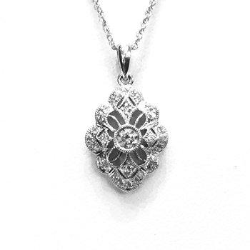 14k White Gold Vintage Style Diamond Pendant - #40422