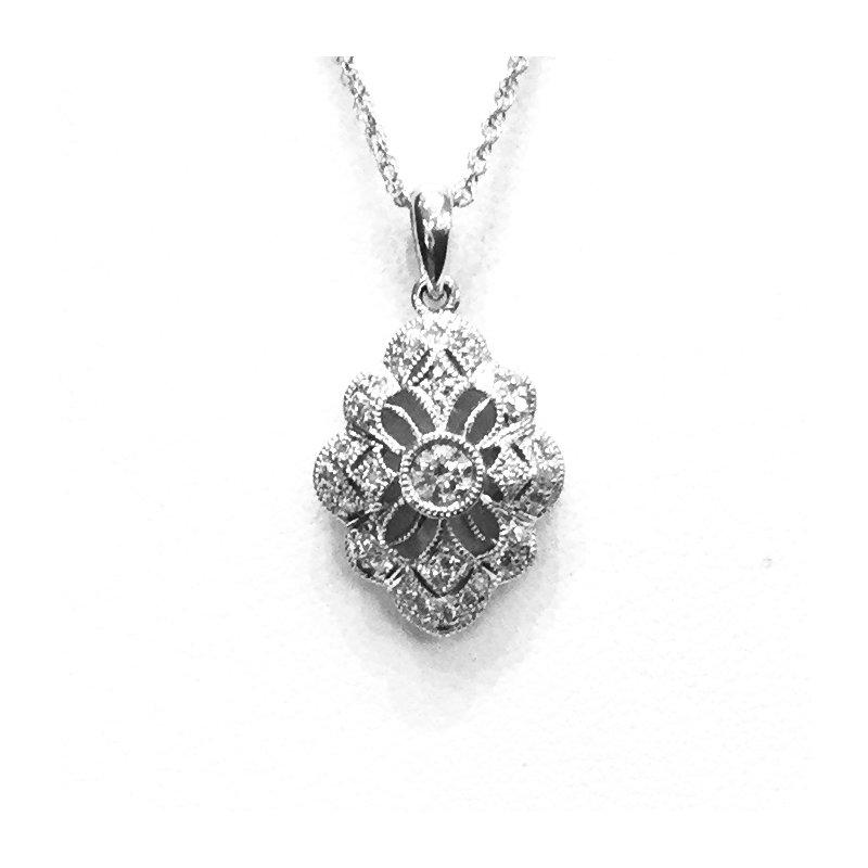 Signature Collection 14k White Gold Vintage Style Diamond Pendant - #40422