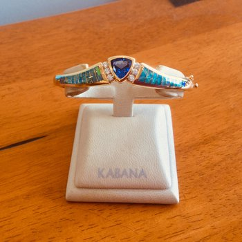 Kabana 14k Yellow Gold Trillion Tanzanite, Australian Opal and Diamond Bangle Bracelet