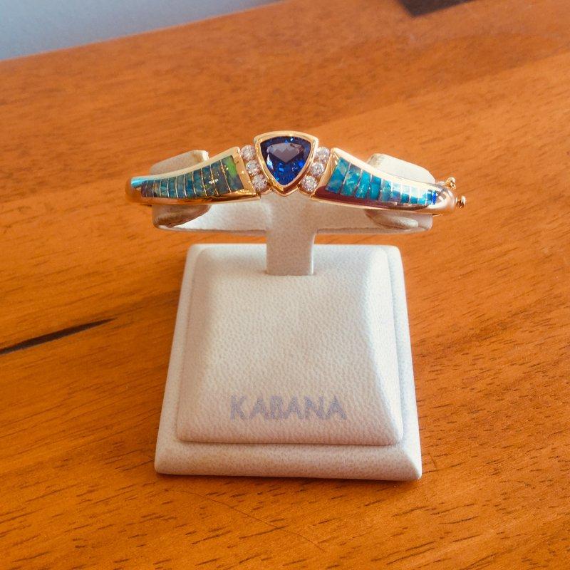 Kabana Jewelry Kabana 14k Yellow Gold Trillion Tanzanite, Australian Opal and Diamond Bangle Bracelet