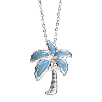 Sterling Silver Palm Tree Pendant with Larimar & Cubic Zirconia Coconuts