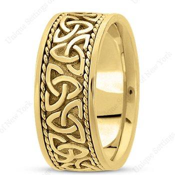 Unique Settings HM209 - Y - 14k Yellow Gold Handmade Celtic Design 10mm Men's Wedding Band