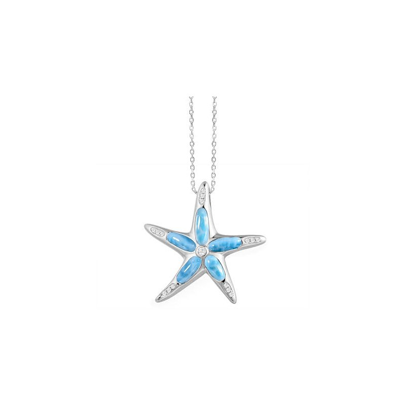 Sealife Jewelry Sterling Silver Starfish Pendant with Larimar by Alamea