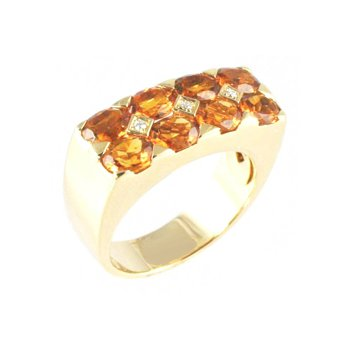 Genuine Citrine & Diamond Ring in 18k Yellow Gold