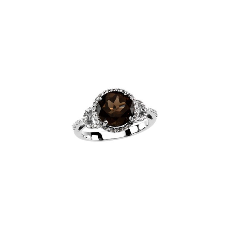 Signature Collection Genuine Smoky Quartz & Diamond Ring