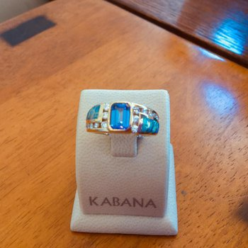 Kabana 14k Yellow Gold Australian Opal, Emerald Cut Tanzanite and Diamond Ring - #34296