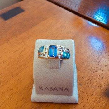 Kabana 14k Yellow Gold Australian Opal, Emerald Cut Tanzanite and Diamond Ring - #34296