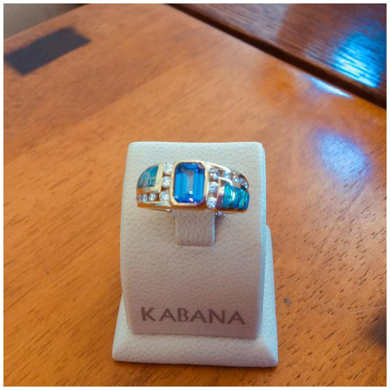 Kabana Jewelry Kabana 14k Yellow Gold Australian Opal, Emerald Cut Tanzanite and Diamond Ring - #34296