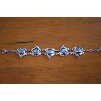 Sterling Silver and Gold Plate Crab Bracelet with Kyocera Lab Created Opal
