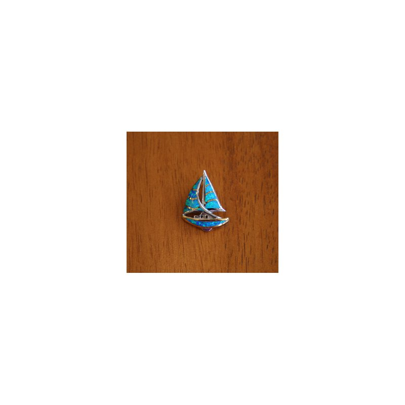 Kovel Sealife Sterling Silver and 18k Gold Plate Sailboat Pendant with Kyocera Lab Created Synthetic Opal.
