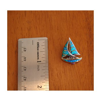 Sterling Silver and 18k Gold Plate Sailboat Pendant with Kyocera Lab Created Synthetic Opal.
