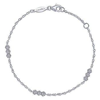 14k White Gold Hexagonal Diamond Stations Tennis Bracelet by Gabriel NY