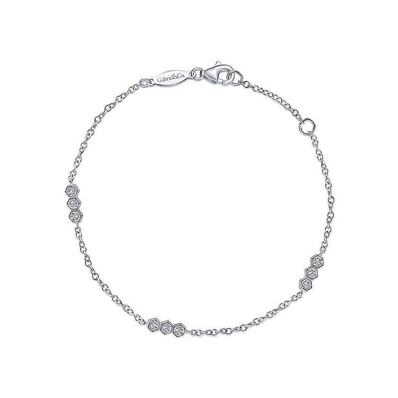 Signature Collection 14k White Gold Hexagonal Diamond Stations Tennis Bracelet by Gabriel NY