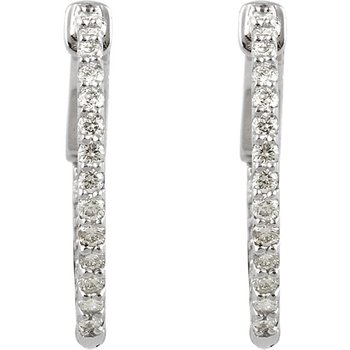14k White Gold Inside Out Diamond Hoop Earrings - #E1/2CTW