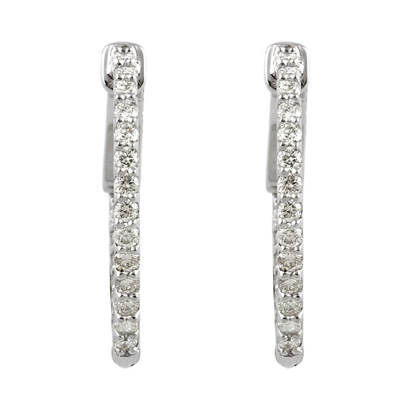 Signature Collection 14k White Gold Inside Out Diamond Hoop Earrings - #E1/2CTW