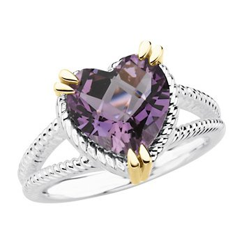Genuine Checkerboard Amethyst Heart Topaz Ring