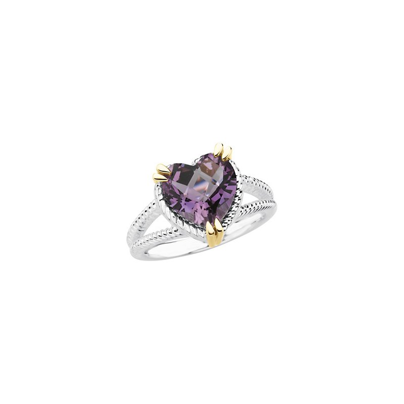 Signature Collection Genuine Checkerboard Amethyst Heart Topaz Ring