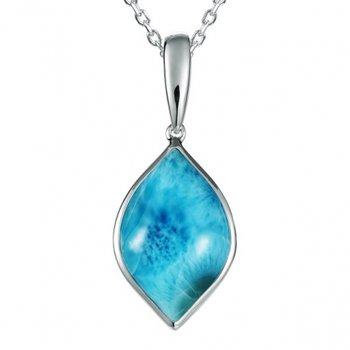 Alamea Collection Sterling Silver Larimar Bulb Pendant
