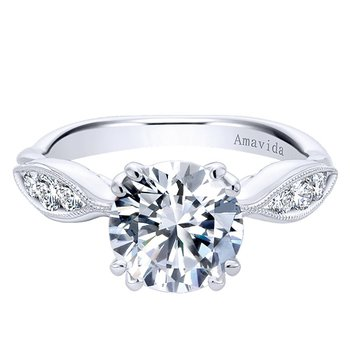 Platinum Tapered Band Diamond Engagement Ring from the Amavida Collection by Gabriel NY