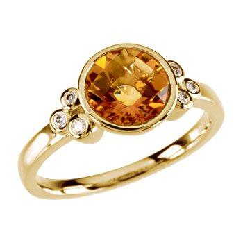 Genuine Checkerboard Golden Citrine & Diamond Ring