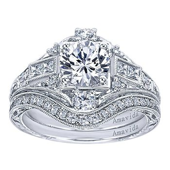 Platinum Vintage Style Engagement Ring from the Amavida Collection by Gabriel NY Style #ER6501