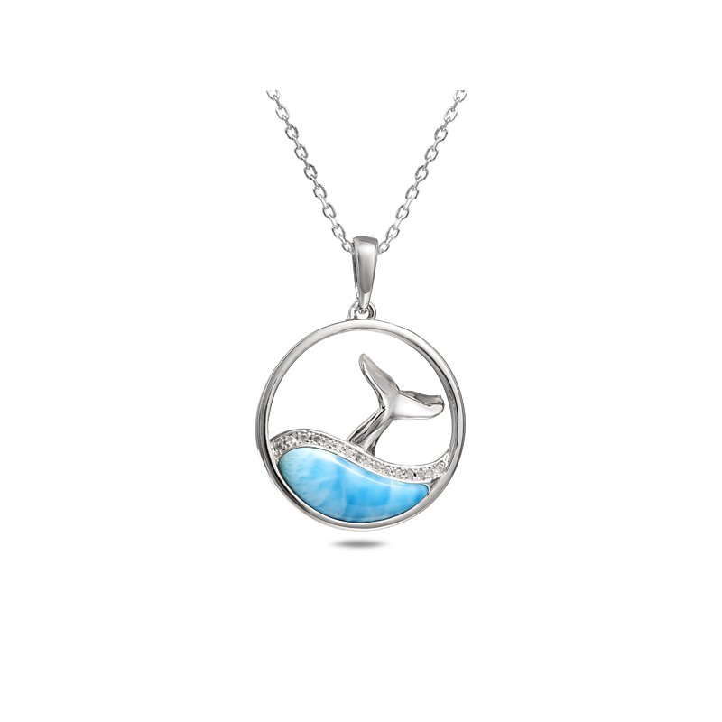 Sealife Jewelry Sterling Silver Larimar Whale Tail Pendant with White Topaz