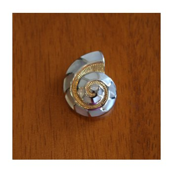 Sterling Silver and Gold Plate Nautilus Shell Pendant  with inlaid White Mother of Pearl.