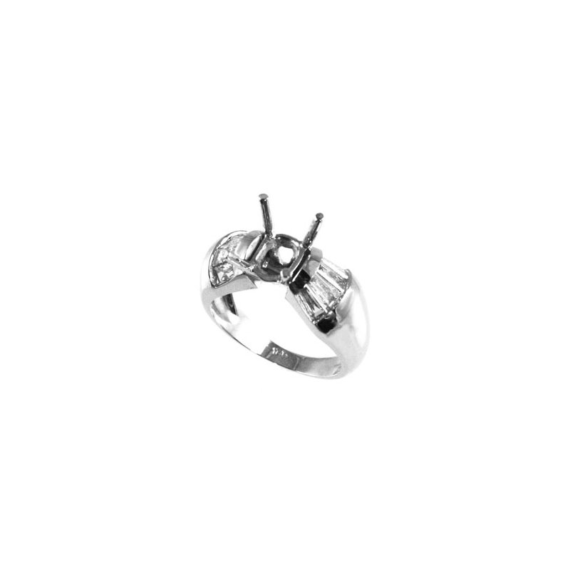 Signature Collection 18k White Gold Fancy Baguette Diamond Engagement Ring Mounting - #25489