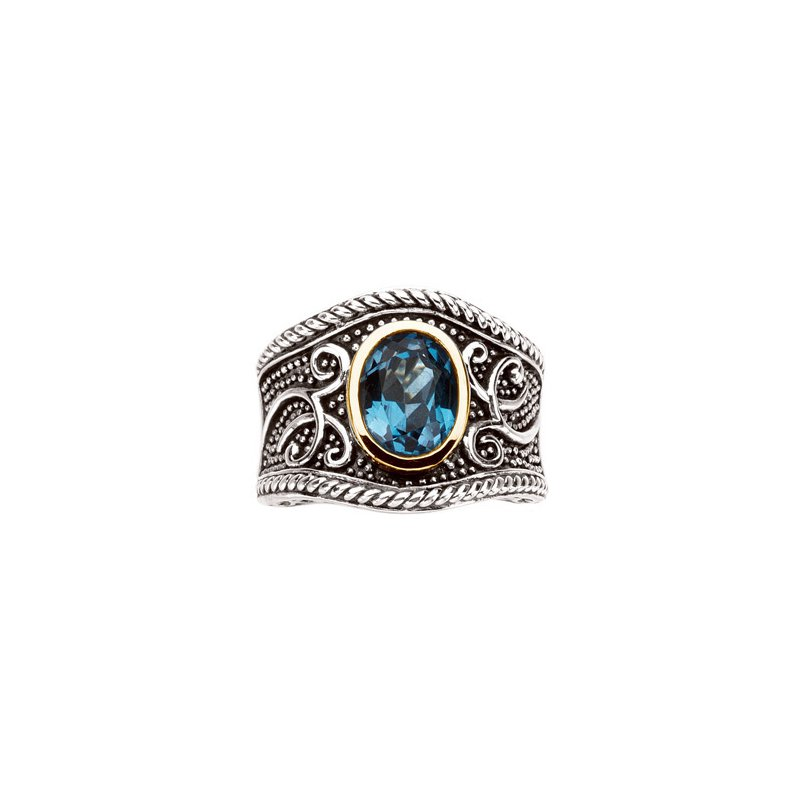 Signature Collection Genuine Swiss Blue Topaz Ring