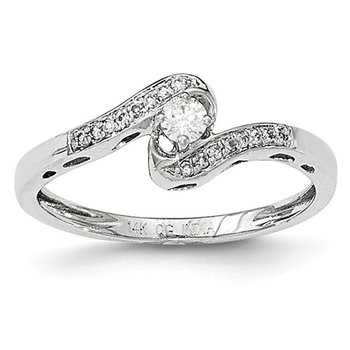 From the Promise Ring Collection 14k White Gold dainty Bypass Diamond Ring
