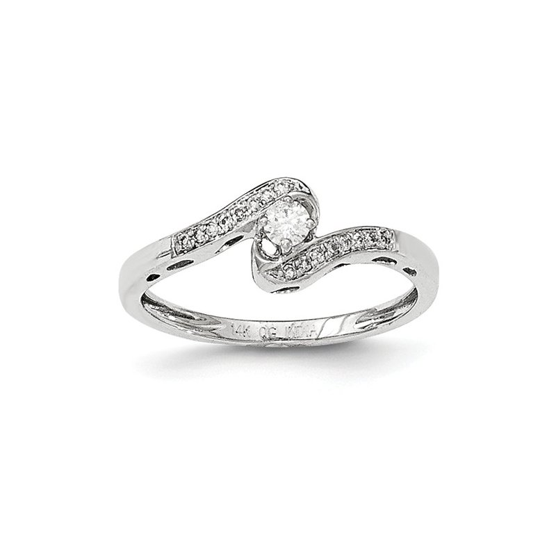 Signature Collection From the Promise Ring Collection 14k White Gold dainty Bypass Diamond Ring