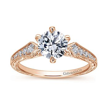 Gabriel NY 14k Rose Gold Vintage Style Diamond Engagement Ring with Engraving