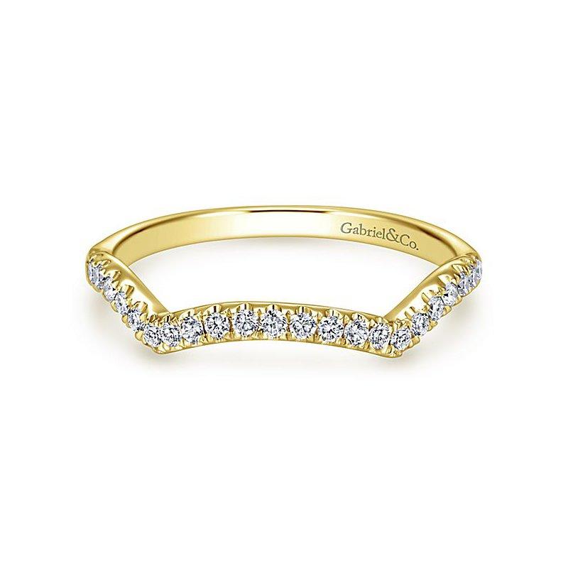 Gabriel NY Gabriel NY 14k Yellow Gold Contemporary Curved Diamond Wedding Band #WB7517Y44JJ