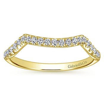 Gabriel NY 14k Yellow Gold Contemporary Curved Diamond Wedding Band #WB7517Y44JJ
