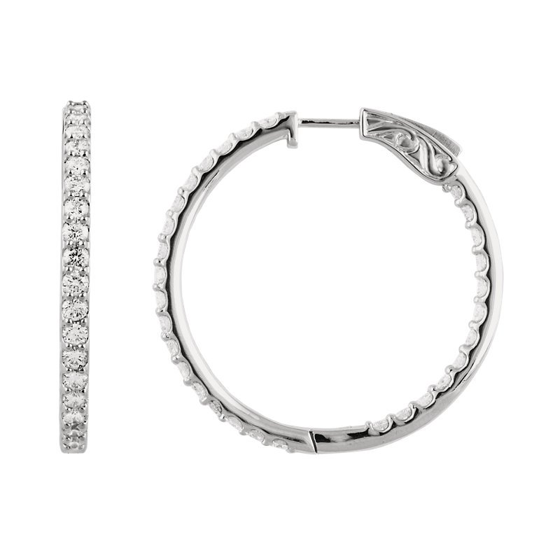 Signature Collection 14k White Gold Inside Out Diamond Hoop Earrings - #E3CTW