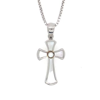 Sterling Silver White Mother of Pearl Cross Pendant
