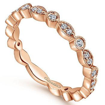 14k Rose Gold Marquise and Round Shapes Diamond Wedding Band by Gabriel NY