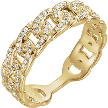 14k Yellow Gold Interlocking Link Diamond Stack Ring