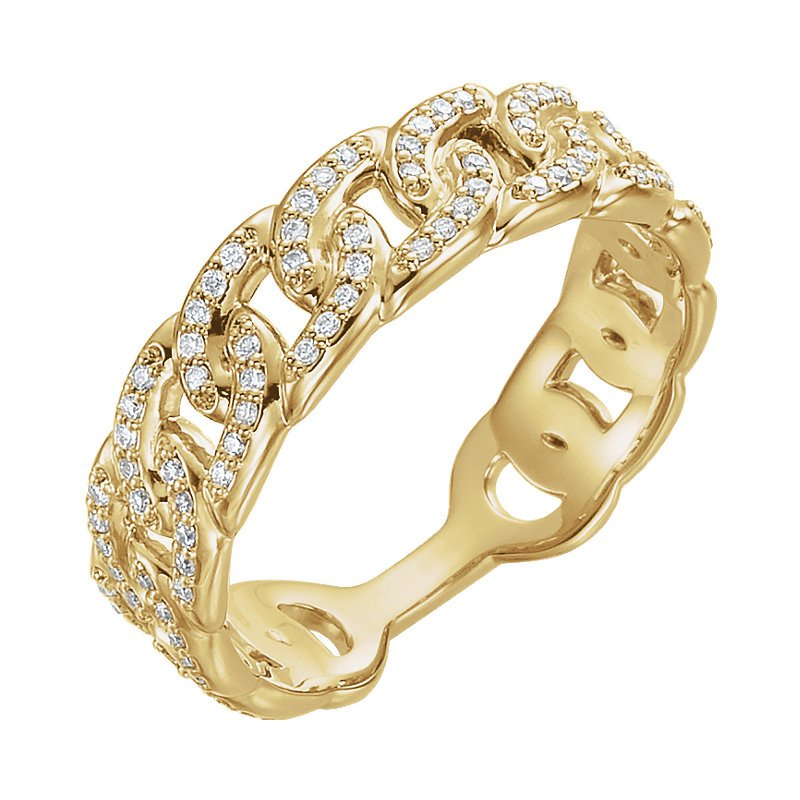 Signature Collection 14k Yellow Gold Interlocking Link Diamond Stack Ring