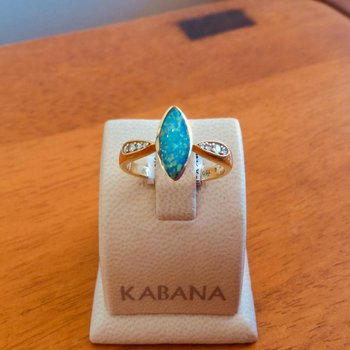 Kabana 5 Star Solid Australian Opal Inlay and Diamond Ring - #34294