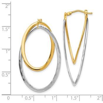 14k White & Yellow Gold Twisted Hinged Hoop Earrings